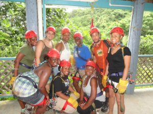 Girls trip ziplining in El Yunque in Puerto Rico